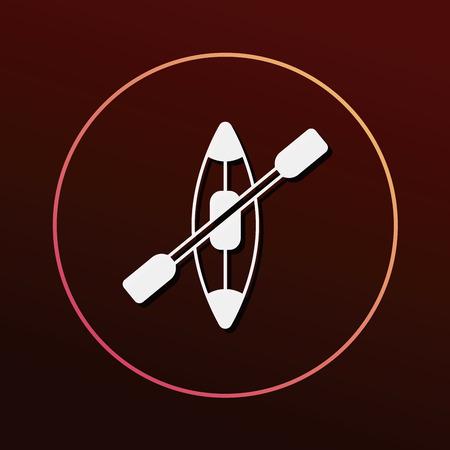black white kayak: Canoe icon Illustration