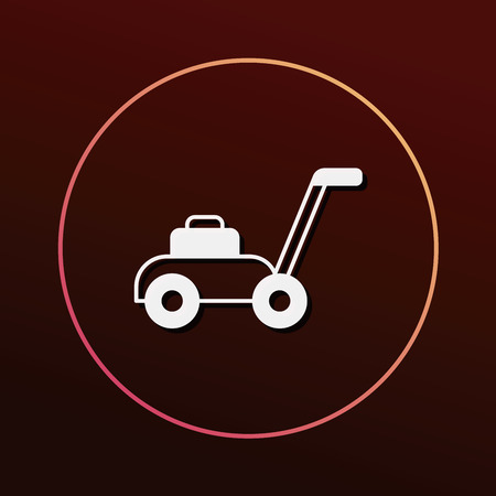 push mower: Lawn mower icon Illustration