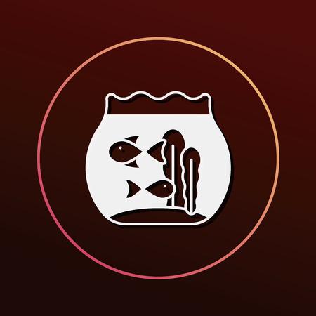 gold fish bowl: fish bowl icon Illustration