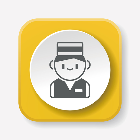 doorkeeper: hotel bellman icon Illustration