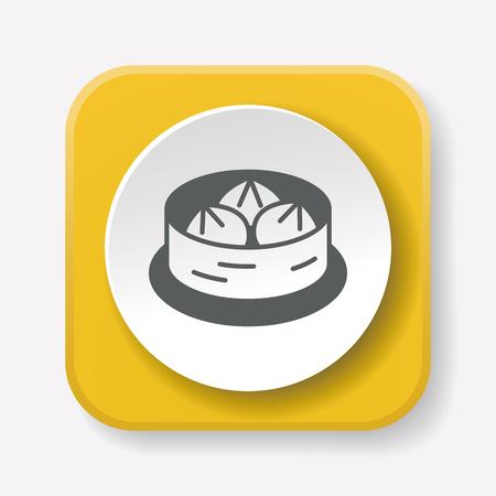 dim: Steamed stuffed bun icon Illustration