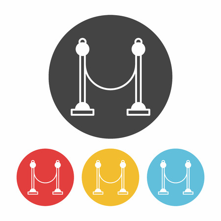 velvet rope barrier: Cinema fence icon Illustration