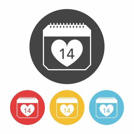 february 14th: valentines day calendar icon