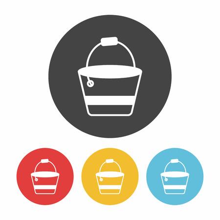 cartoon wood bucket: water bucket icon