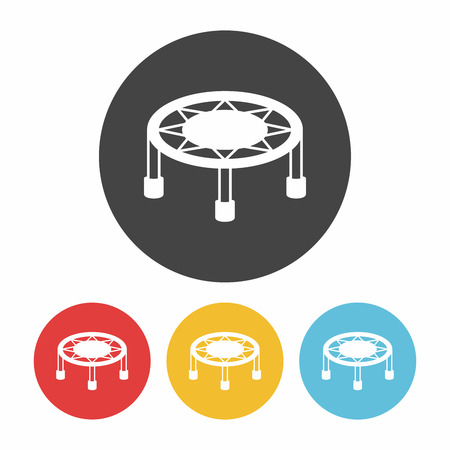 coil springs: Bouncing bed icon Illustration