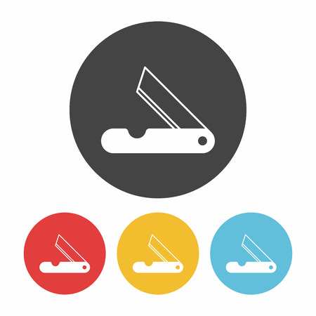 dangerous work: Utility knife icon Illustration