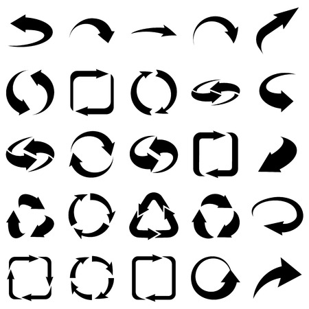 doubling: Twenty five arrows icons set collections. B