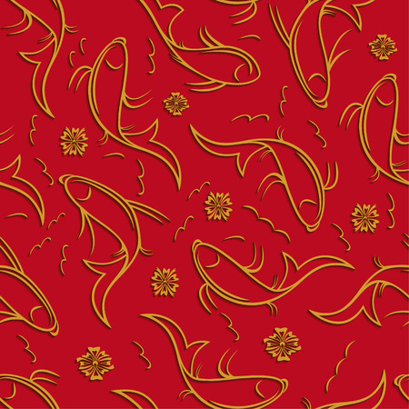 aquaculture: Chinese vector seamless pattern with ornamental fish. Illustration