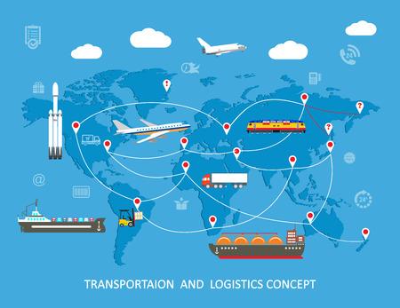 medios de transporte: Logística plana concepto global de transporte. ilustración vectorial Vectores
