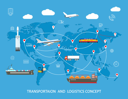 Logistics flat global transportation concept. Vector illustration