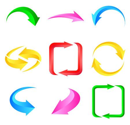 range of motion: Colorful arrows. Illustration for design on white background.illustration