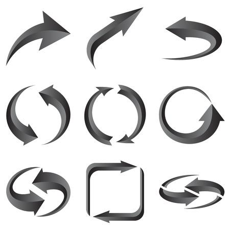 range of motion: Set of gray arrows. illustration for design on white background. Illustration