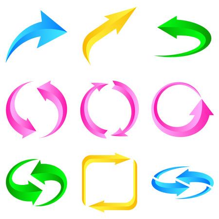 range of motion: Set of colorful arrows. illustration for design on white background.