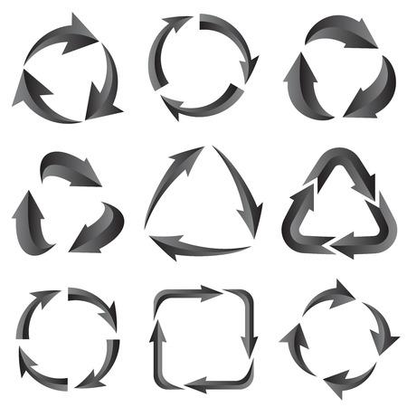 range of motion: 9 of gray arrows arrow pictogram refresh reload rotation loop sign set. illustration for design on white background