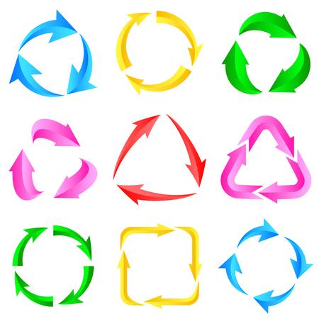 range of motion: 9 of color arrows arrow pictogram refresh reload rotation loop sign set.illustration for design on white background.