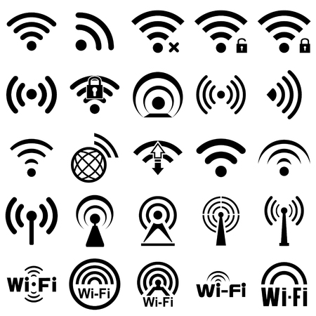 comunicación: Conjunto de veinticinco diferentes iconos de conexiones inalámbricas y WiFi negros para el acceso remoto y la comunicación a través de ondas de radio