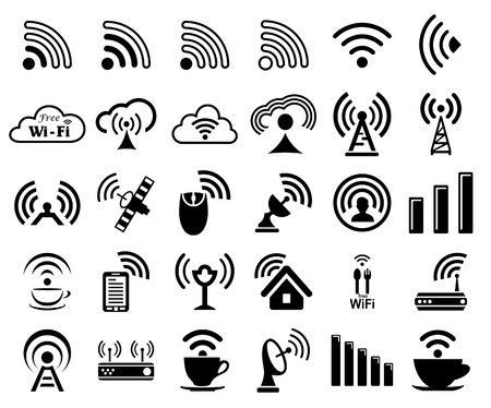 remote access: Set of thirty different black wireless and wifi icons for remote access and communication via radio waves