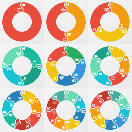 8 9: circle arrows for infographic. Template for diagram, graph, presentation and chart. Business concept  with  1,2,3, 4, 5, 6, 7, 8,9  options, parts, steps or processes