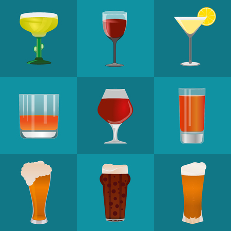 cups silhouette: Alcohol and beer vector icons set. Alcohol glass and beer label. Beer cups silhouette. Oktoberfest beer vector set. Alcohol drink, beer sign, beer pub alcohol. Beer and Alcohol logo. Illustration