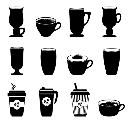 glass cup: Icons coffee cups in black and white. illustration Illustration