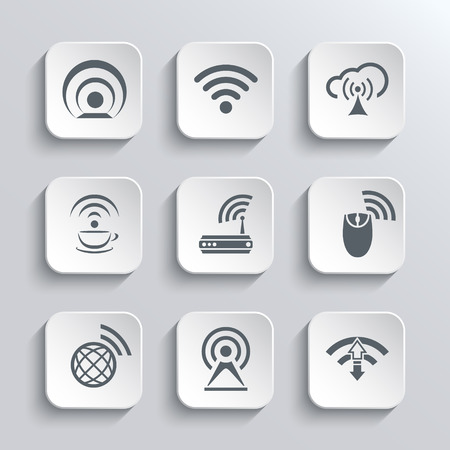 wifi access: Wireless and Wifi Web Icons Set for Remote Access and Communication Via Radio Waves - White App Buttons Design Element With Shadow. Trendy Design Template
