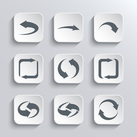 range of motion: Arrows Web Icons Set - White App Buttons Design Element With Shadow. Trendy Design Template Illustration