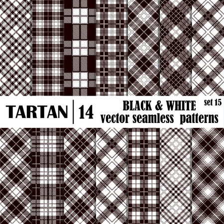 flannel: Set tartan seamless pattern in black and white colors. Lumberjack flannel  shirt inspired. Seamless  tiles. Trendy hipster style backgrounds. files pattern swatches Illustration