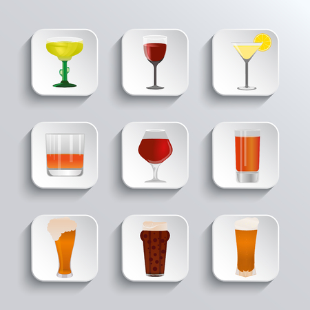 cups silhouette: Alcohol and beer  web  icons set. Alcohol glass and beer label. Beer cups silhouette.  Alcohol drink, beer sign, beer pub alcohol. Vector white app buttons design element with shadow. Trendy design template