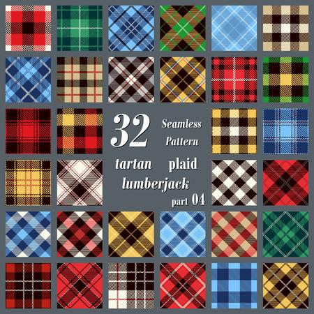 flannel: Set  plaid tartan seamless pattern. Lumberjack flannel  shirt inspired. Seamless  tiles. Trendy hipster style backgrounds. Vector illustration