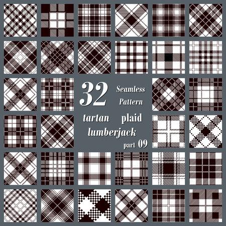 flannel: Black and white set  plaid tartan seamless pattern. Lumberjack flannel  shirt inspired. Seamless  tiles. Trendy hipster style backgrounds. Vector illustration