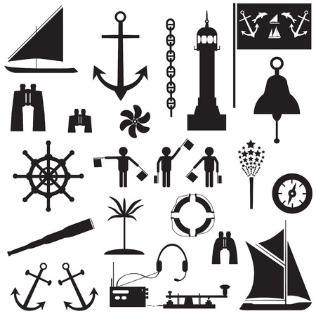 inflate boat: Set of icons on the theme of travel by sea. Vector illustration Illustration