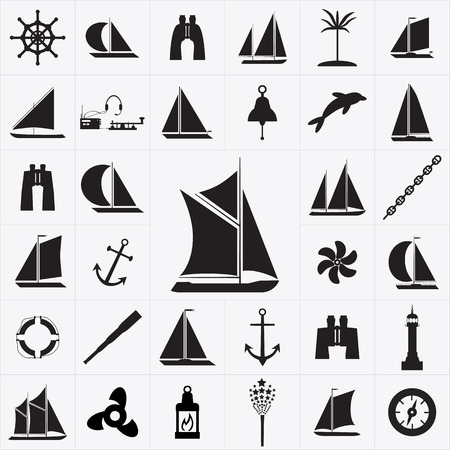inflate boat: Sailboat Icons Illustration