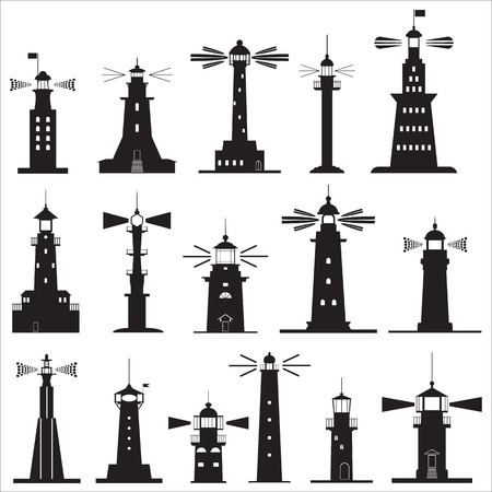 Set Icons of Lighthouses. Vector illustration Vektorové ilustrace