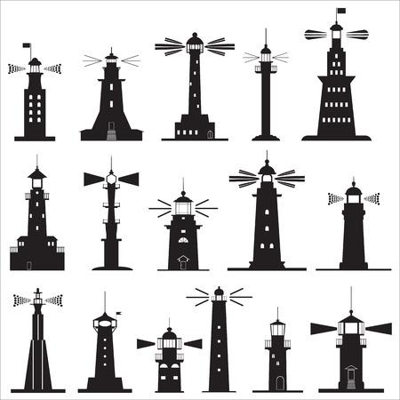 leading light: Set Icons of Lighthouses. Vector illustration Illustration