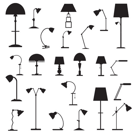 table lamps: Set of icons of table lamps. The isolated vector illustrations in black color. Illustration