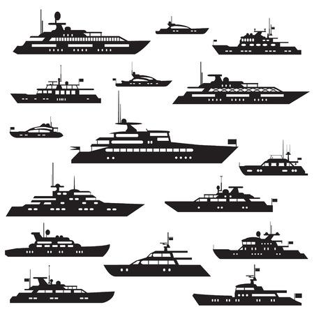 Set icônes de moteur yachts.Yacht symbole vecteur silhouette.