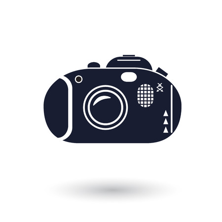 photocamera: Black and white vector camera icon Illustration