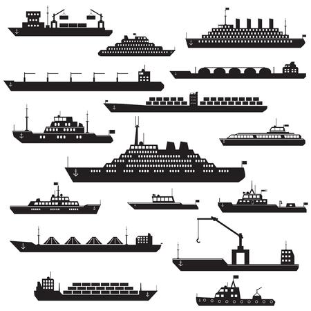 Set di silhouette in bianco e nero navi e barche icone che mostrano linee passeggeri vettore nave da crociera LNG contenitore nave cisterna nelle viste frontali Vettoriali