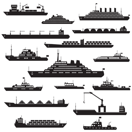 frontal: Set of black and white silhouette ships and boats icons showing passenger lines cruise ship LNG carrier container ship tanker in frontal  views