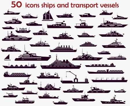 50 vector icons of marine vessels, motorboats, yachts and cargo ships.