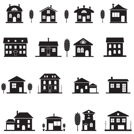 investment real state: Fije los iconos de la cabaña. Negro aislados silueta de la casa. ilustración vectorial Vectores
