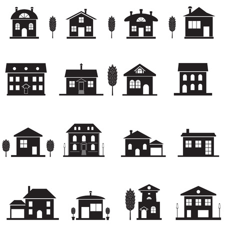 investment real state: Set cottage icons. Black isolated house silhouette. Vector illustration Vectores