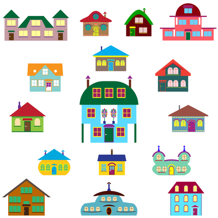 home group: House cartoon set - colourful home icon collection. Vector illustration group. Private residential architecture in different stylescartoon