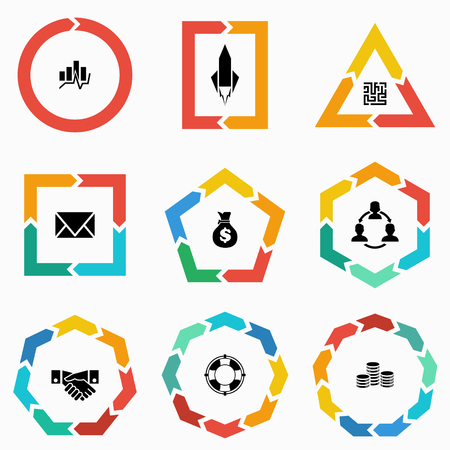 7 8: Vector geometric shapes arrows for infographic and startup business icon. Template for diagram, graph, presentation and chart. Business concept  with  1,2,3, 4, 5, 6, 7, 8,9  options, parts, steps or processes