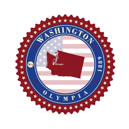 Label sticker cards of State Washington USA. Stylized badge with the name of the State, year of creation, the contour maps and the names abbreviations. Illustration