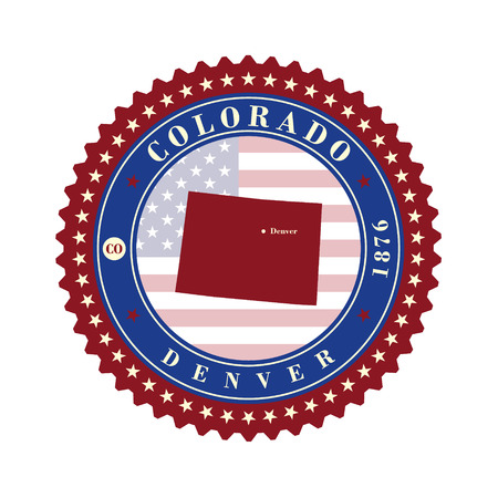 Label sticker cards of State Colorado USA. Stylized badge with the name of the State, year of creation, the contour maps and the names abbreviations. Illustration