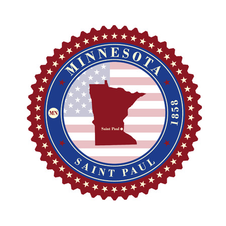 Label sticker cards of State Minnesota USA. Stylized badge with the name of the State, year of creation, the contour maps and the names abbreviations.