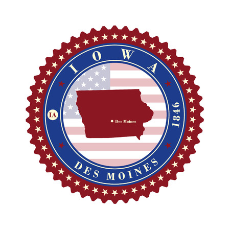 Label sticker cards of State Iowa USA. Stylized badge with the name of the State, year of creation, the contour maps and the names abbreviations. Illustration