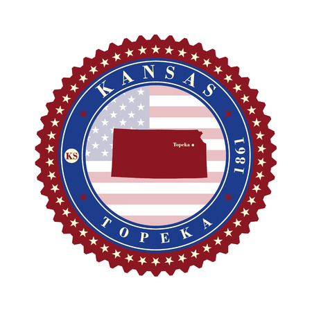 kansas: Label sticker cards of State Kansas USA. Stylized badge with the name of the State, year of creation, the contour maps and the names abbreviations.
