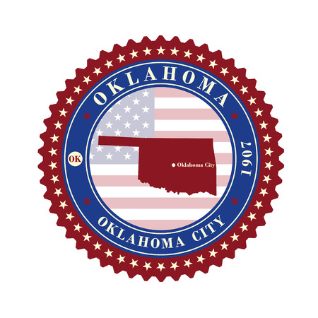 Label sticker cards of State Oklahoma USA. Stylized badge with the name of the State, year of creation, the contour maps and the names abbreviations.